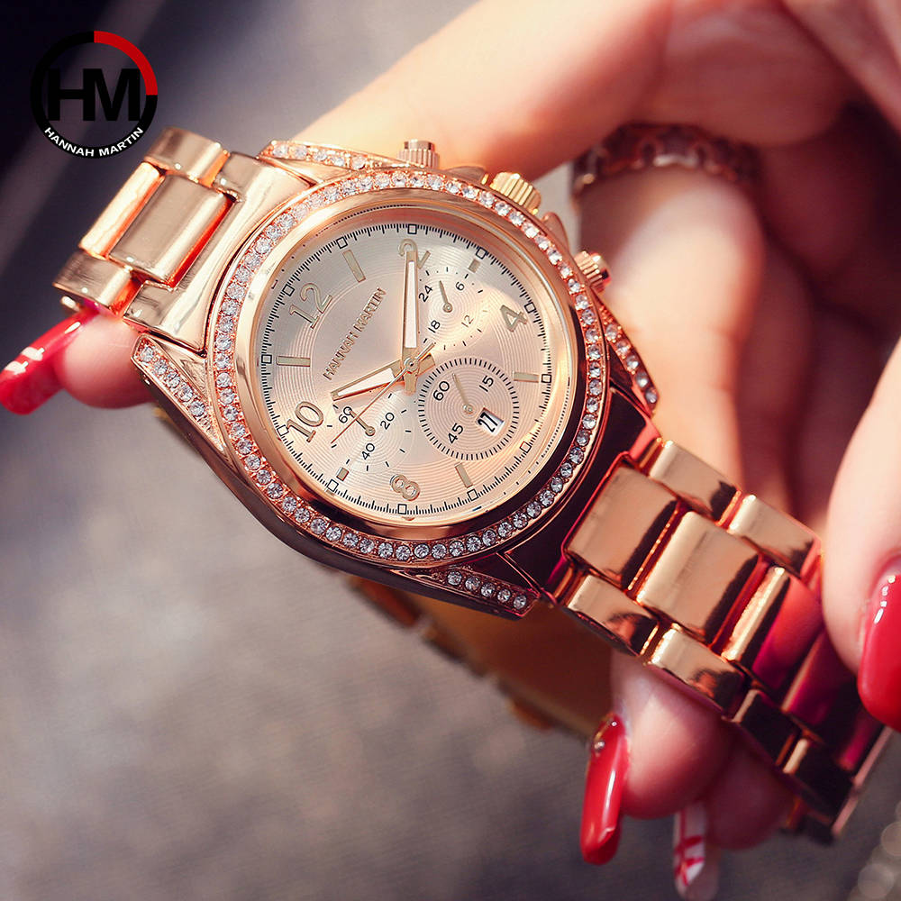 купить 2018 Ladies Top Luxury Brand Diamond Clock Women Rhinestone Wrist Watch Calendar Waterproof Rose Gold Fashion Casual Wristwatch по цене 831.61 рублей