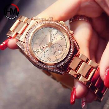 2018 Ladies Top Luxury Brand Diamond Clock Women Rhinestone Wrist Watch Calendar Waterproof Rose Gold Fashion Casual Wristwatch дамски часовници розово злато