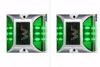 2X Solar Powered LED Road Stud Green Road Flashing Light jedno Opakowanie