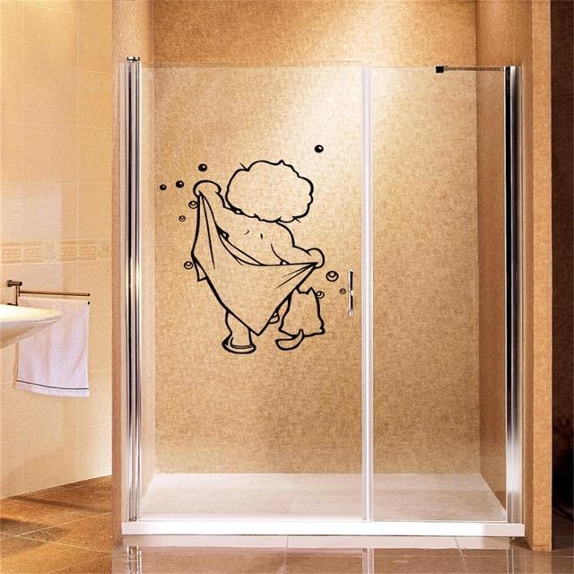 Mooie baby liefde douche muurstickers badkamer glazen deur ...
