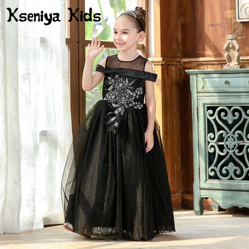 Kseniya Kids 2018 Spring And Summer New Black Children Princess Mesh Lace Sleeveless Big Girl Dress Wedding Dress For Girl kseniya kids 2018 spring summer new children s clothing lace princess mesh lace sleeveless girls dresses for party and wedding