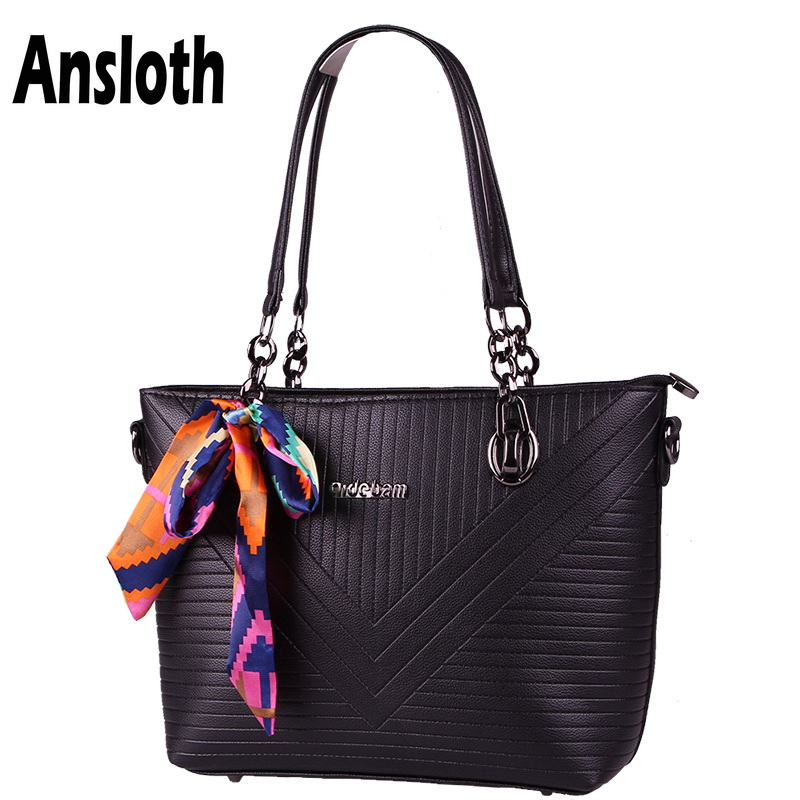 Ansloth Fashion Classic Scarves Women Bags Soft PU Leather Handbag Casual Women Shoulder Bag High Quality Large Tote Lady HPS121