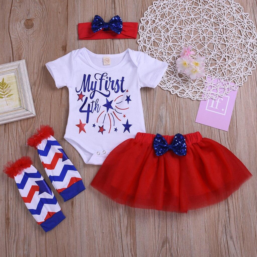 Methodisch Baby Meisjes Brief Tops Tulle Sequin Rok Haarband Been Warmer Outfit 4th Juli Baljurk Ensemble Fille Vestido Infantil