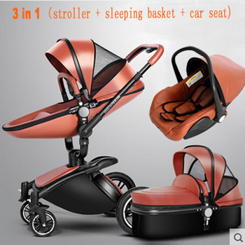 3 in 1 Baby Stroller High Quality Newborn Baby Strollers 2 in 1 Leather Stroller Baby Pram Foldable Baby Carriage