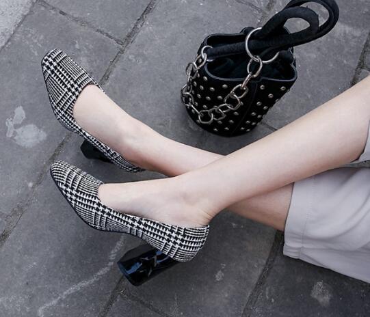 Mariage Femme Hauts Chaussures Laides Mode Party Élégantes Femmes Chunky colorful G61526 Nice Talons Mujer Printemps Femelle Grid De Pompes Zapatos FYPFqw