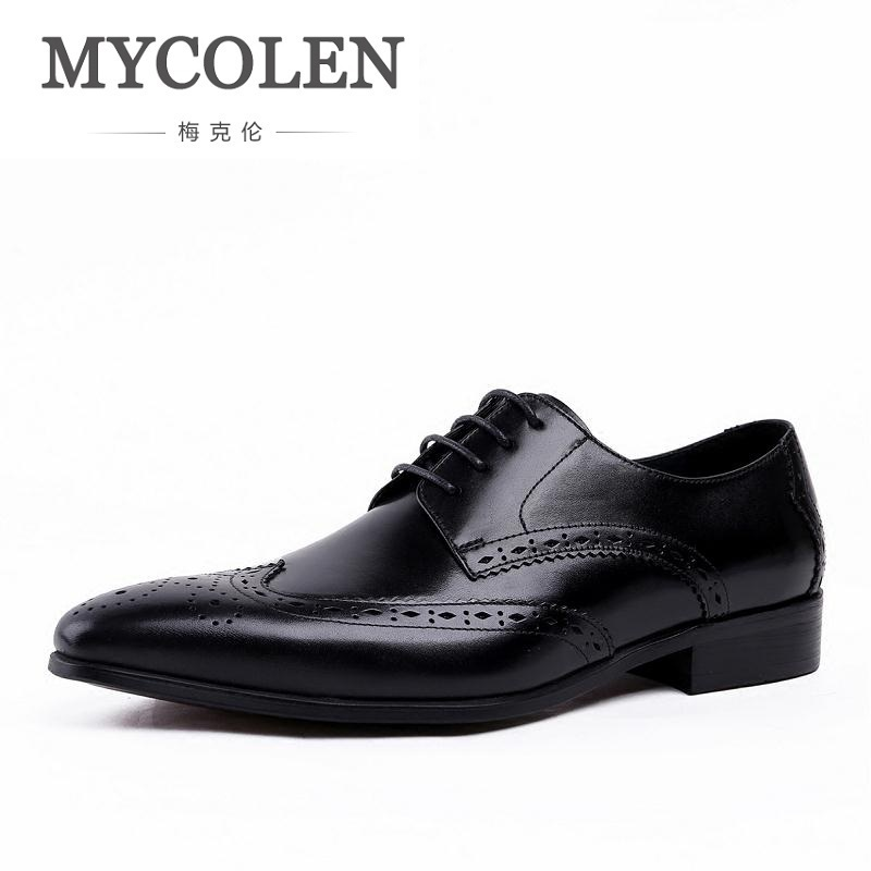 MYCOLEN Brown Black Lace-Up Handmade Brogue Shoes Genuine Calf Leather Oxford Classic Men Social Shoe Sapatos Homens Oxford zjnnk hot sale genuine leather men casual shoes black brown men flats handmade men father shoes lace up men shoes dropship h825