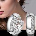 2015 Hot Women's Wedding Party Zircon Silver Plated Ear Studs Hoop Huggie Earrings Jewelry Chrismas Gift