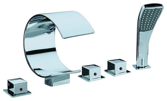 Chrome Finish Contemporary Dual Handles Waterfall Tub Faucet with Hand Shower