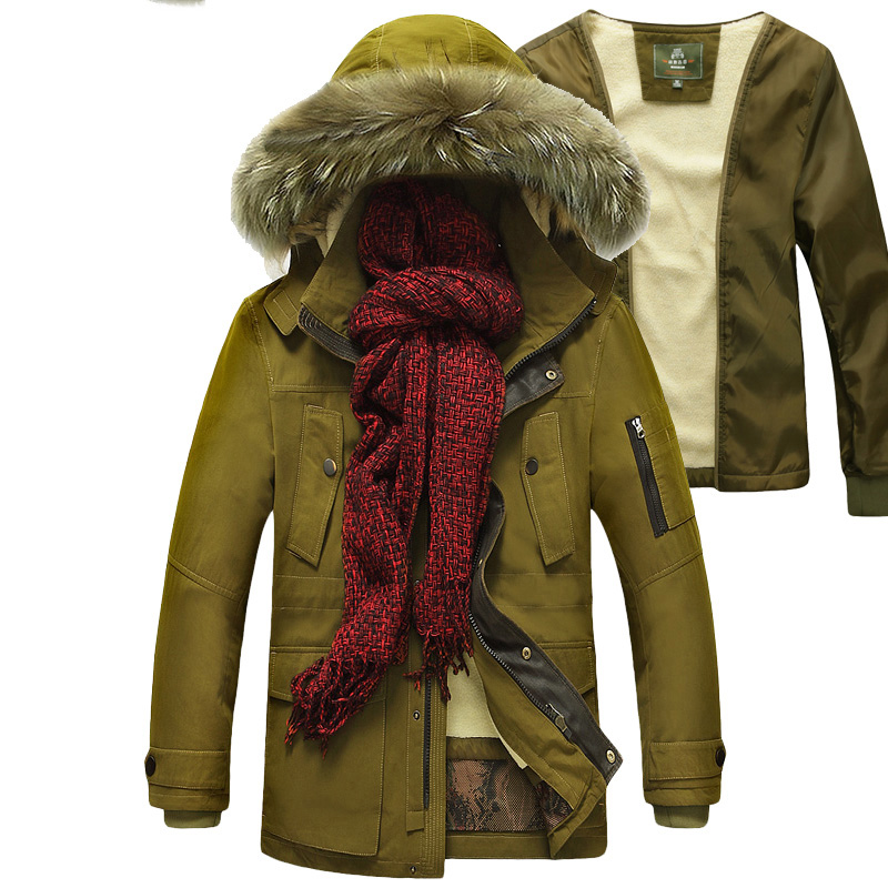 New arrival AFS JEEP men parkas liner detachable casual mens Winter parka with fur hood thick chaqueta hombre invierno coat men