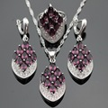Silver Color Jewelry Sets For Women Created Purple Amethyst White CZ Necklace Pendant Earrings Rings Christmas Free Gift Box