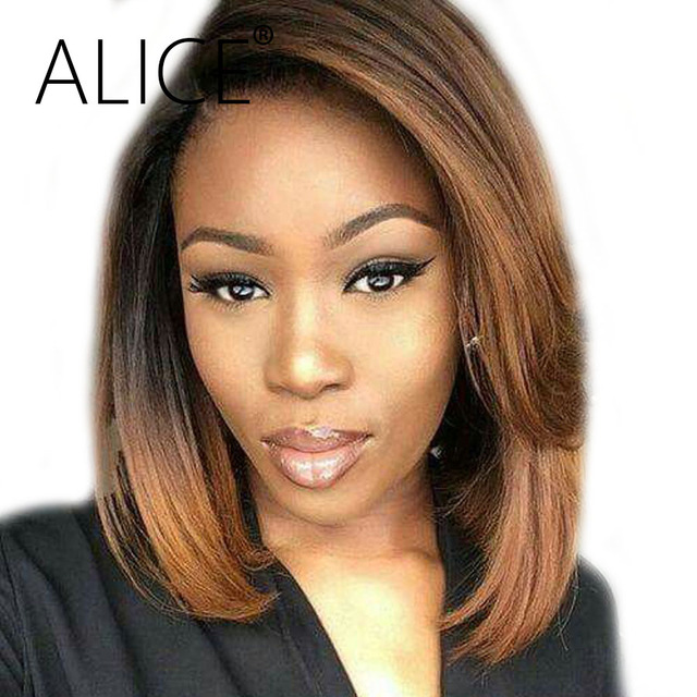 Alice Human Hair Bob Wigs Brown Ombre Color Remy Straight Human Hair Wigs 130 Percents Density Side Part Glueless Lace Front Wigs by Alice