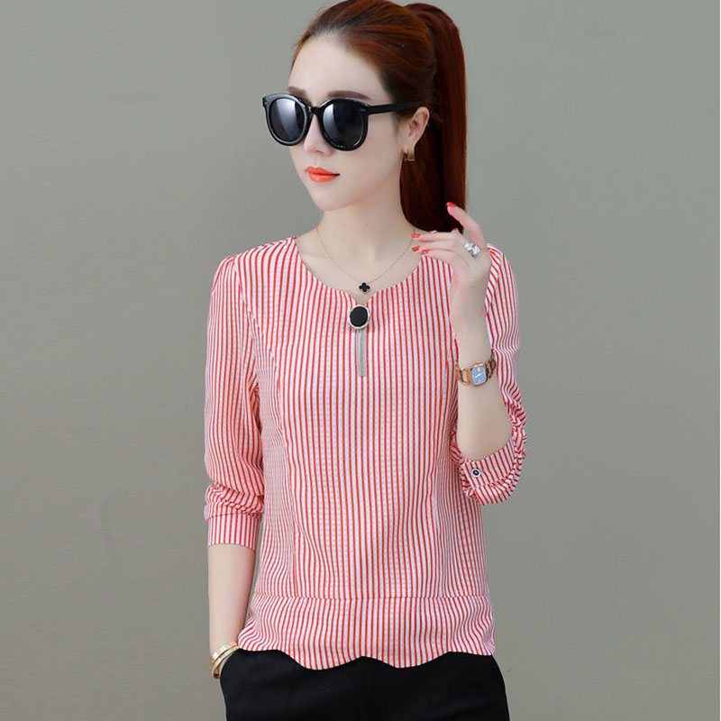 Women Spring Summer Style Chiffon Blouses Shirts Lady Casual Striped Printed O-Neck Blusas Tops DF2829