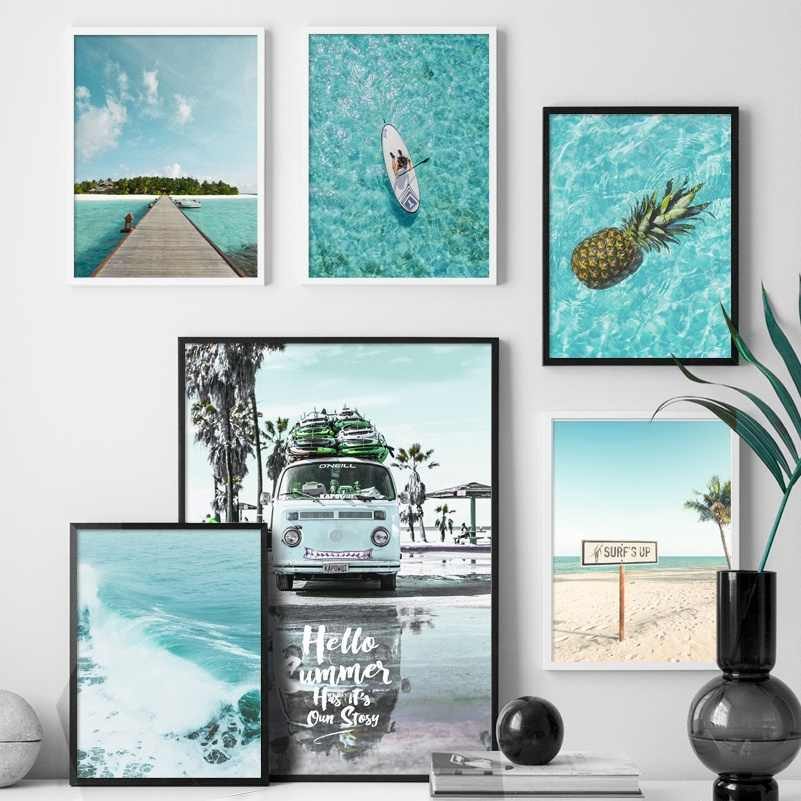 Beach Surf Sea car coconut tree Landscape Nordic Posters And Prints Wall Art Canvas Painting Wall Pictures For Living Room Decor