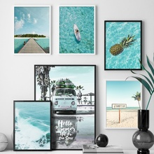 Beach Surf Sea Car Coconut Tree Landscape Nordic Posters And Prints Wall Art Canvas Painting Pictures For Living Room Decor