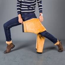 Mens Winter Stretch Thicken Jeans with Warm Fleece High Quality Denim Jean Pants Trousers Plus Size#HR822