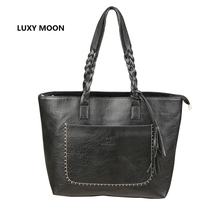 PU Leather Tassel Handbag Women Purse Shopper Tote Luxury Design sac a main High Quality Vintage Fashion Shoulder Bag Dropship