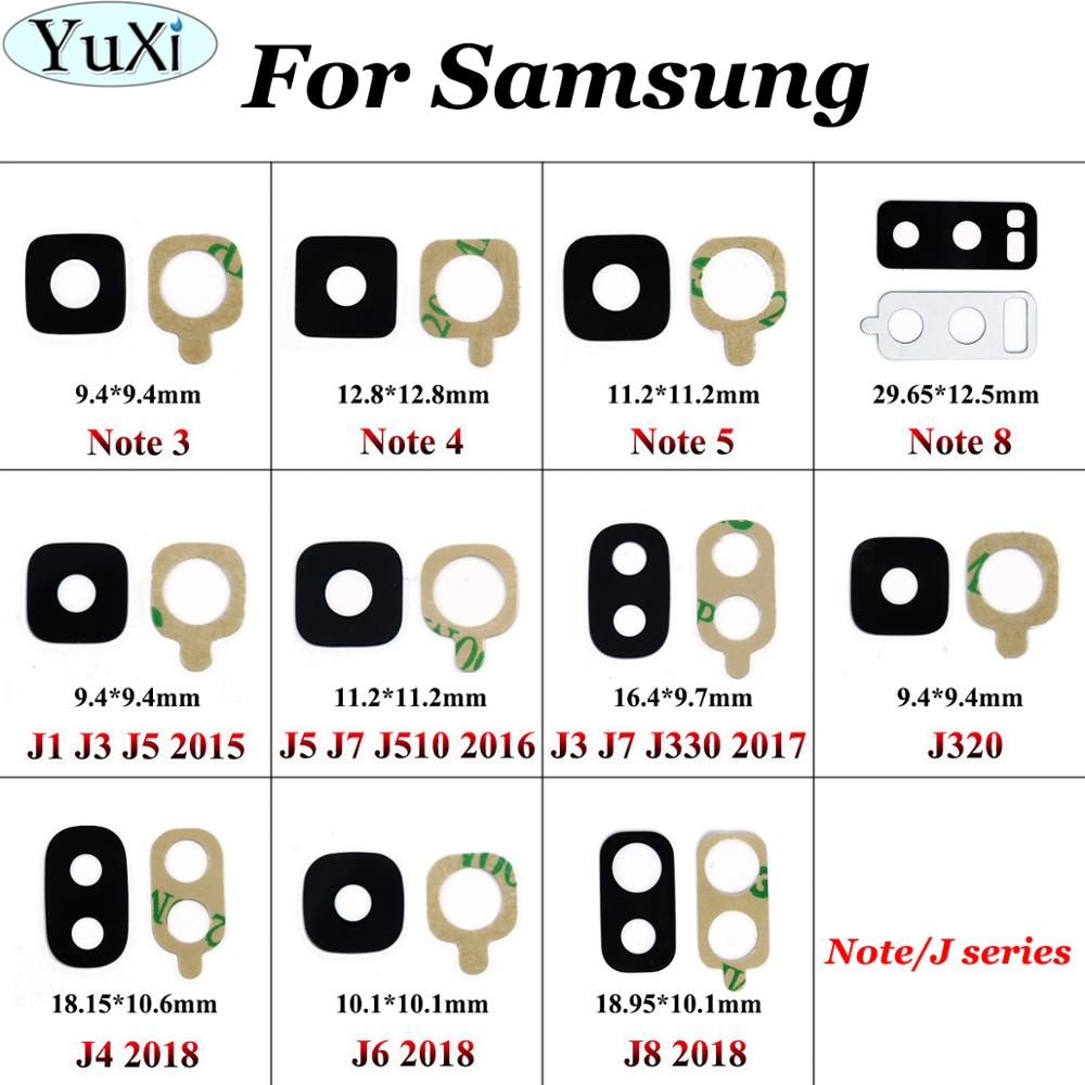 YuXi For Samsung Galaxy J5 J3 J7 J320 J4 J6 J8 2015 2016 2017 2018 Note 4 5 3 8 Rear Back Camera Glass Lens Cover With Adhesive