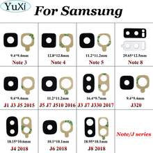 YuXi For Samsung Galaxy J5 J3 J7 J320 J4 J6 J8 2015 2016 2017 2018 Note 4 5 3 8 Rear Back Camera Glass Lens Cover With Adhesive(China)