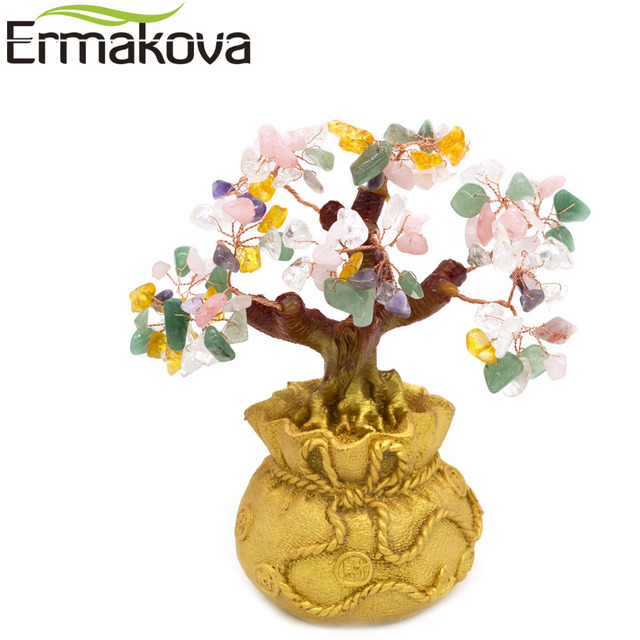 ERMAKOVA 6.7 Inch Tall Mini Crystal Money Tree Bonsai Style Wealth Luck Feng Shui Bring Wealth Luck Home Decor Birthday Gift 3