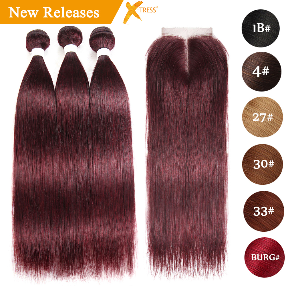 99J/Burgundy Human Hair Weave Bundles With Lace Closure 4X4 Brazilian Straight Red Color Non-Remy Hair Weft Extensions X-TRESS
