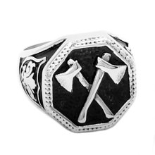Wholesale Slavic Perun Axe Biker Ring Stainless Steel Jewelry Punk Classic Slavic Perun Motor Biker Ring For Men SWR0711