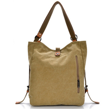 POPOKi multi-function canvas backpack preppy style shoulder bag 4 colors