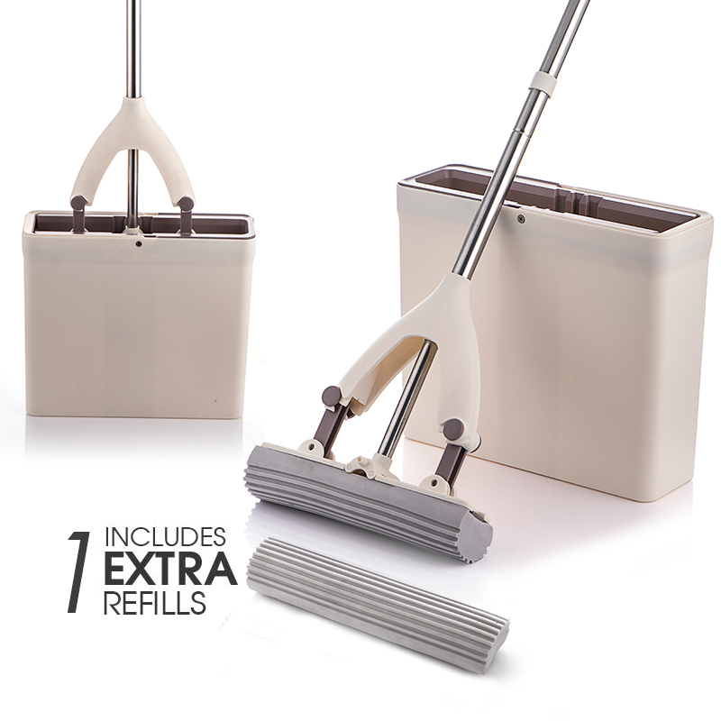 Hands Free Mop Bucket With Squeeze Plate Sponge PVA Mop Head Dry And Wet Magic Cleaning Tools Household Hardwood Laminate Tile