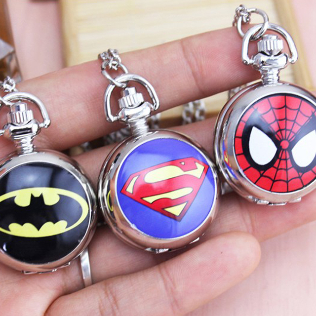 2018 DC Universe Superman batman spiderman Superhero Fashion Pocket Watch Neckla