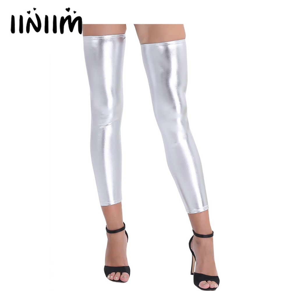 iiniim 1 Pair of Women Wetlook Shiny Stretchy Footless Thigh-high Costumes Tights Stockings for Sexy Evening Party Club Stocking