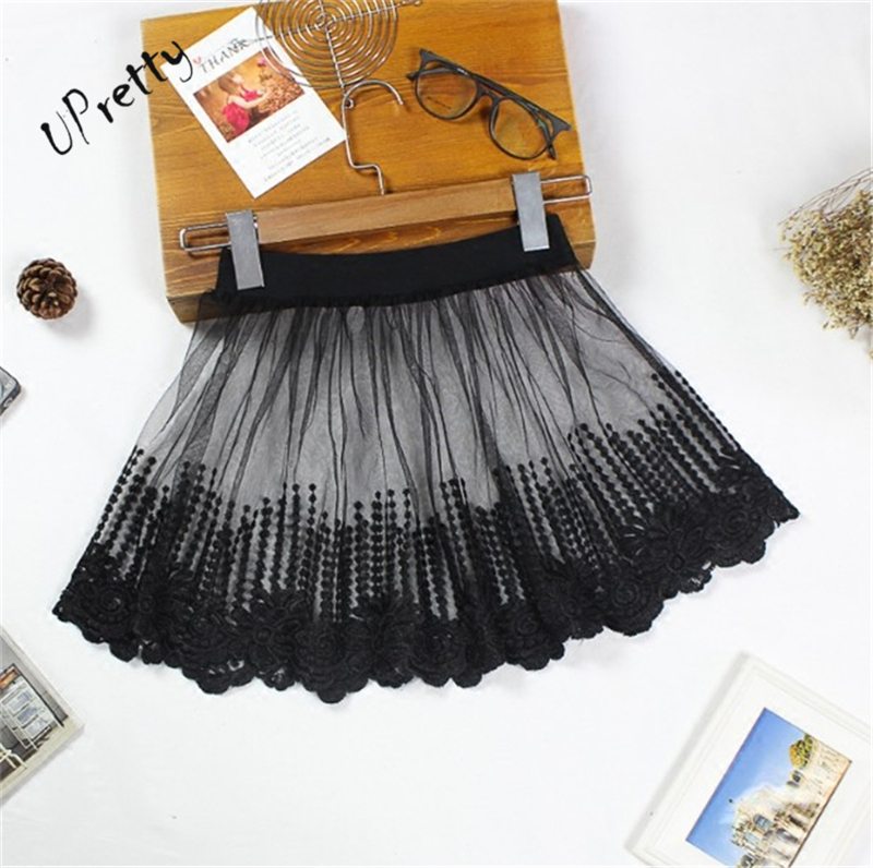 Women Sexy Lace Mesh Floral Embroidery Mini Skirt Spring Summer Casual Club High Waist Elastic A-Line Tulle Black Short Skirt