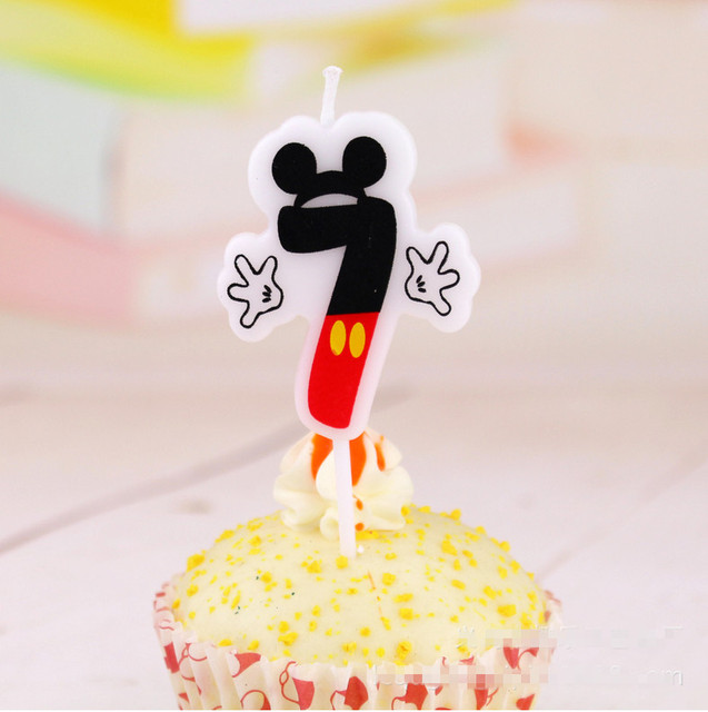 1pc Birthday Candle Mickey 7 Anniversary Cake Numbers Age Party Supplies Decoration