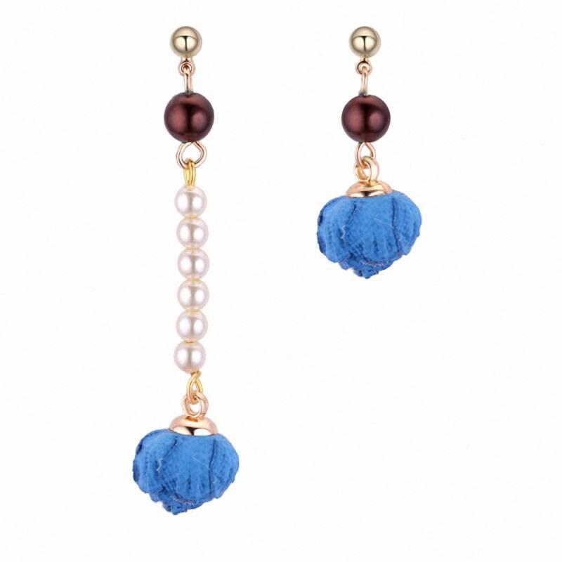 TRACYKWOK Bohemia Exaggeration Dangle Earrings For Women Silk Thread Tassel Pearl rose Long Chandelier Earrings Fo-131218