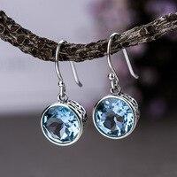 London Topaz Earrings Blue Natural Gemstone Drop Earrings For Women Simple Hook 925 Sterling Silver Hollow Design Round Shape