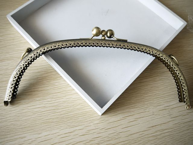 25cm vintage bronze 3 folding purse metal frames with rings clutch purse frame handbag holder 5pcs/lot S0110