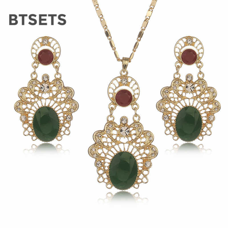 BTSETS Jewelry Sets For Women Gold Color Dubai Turkish Wedding Bridal Jewelry Sets Fashion Necklace Jewellery Christmas Gift