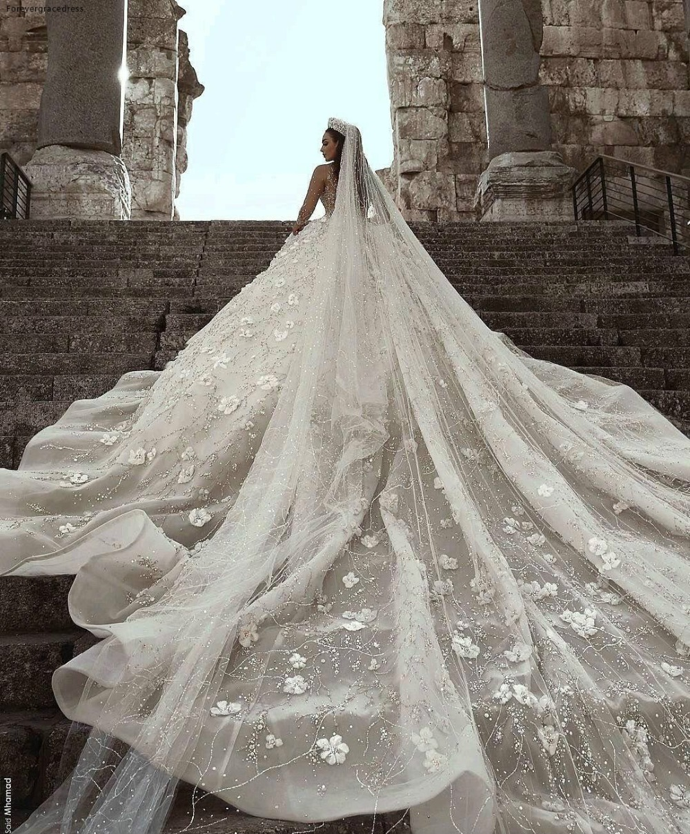 Glamorous Luxury Dubai Arabic New Fashion Lace Ball Gowns Wedding Dresses Long Sleeves 3D Flowers Beading Wedding Dress Bridal Gowns BC0151 591 (8)