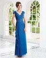 Joky Quaon Tobillo-Longitud Cielo Azul de La Gasa Apliques Rebordear Plisado vestido de Noche Formal Vestidos Mujeres de Talla grande Elbiseler Abiye