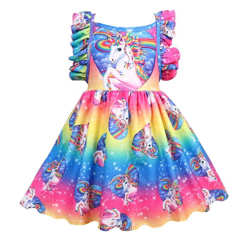 купить Baby Girls Dress Summer Unicorn Costume Kids Clothing 2018 Children Party Dresses Girls Clothes Princess Short Sleeve Dress онлайн