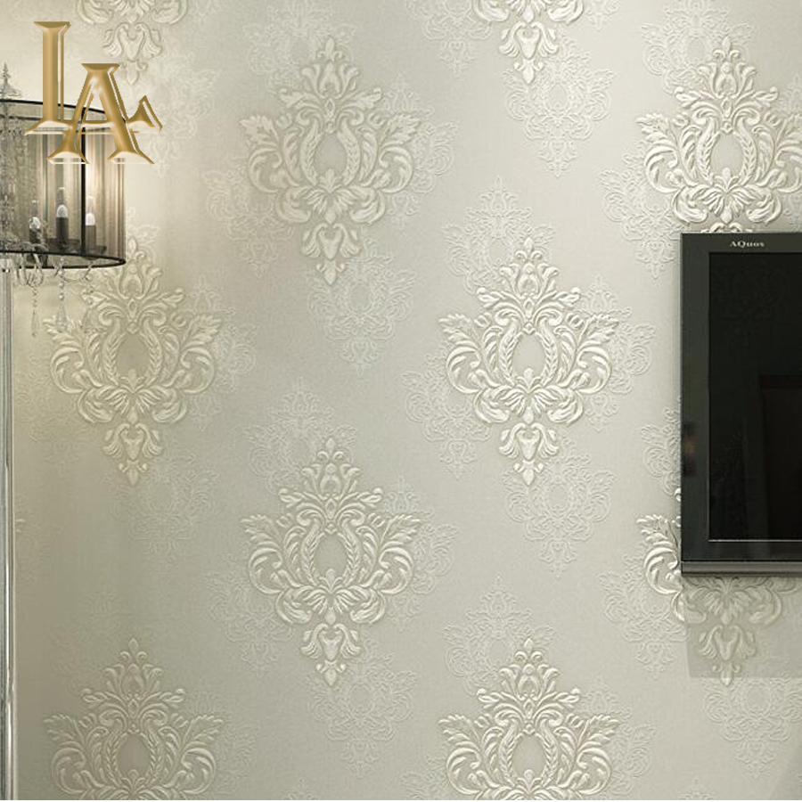 minimalista de lujo pink europea damasco papel tapiz para paredes de color beige d dormitorio