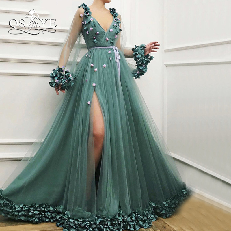 QSYYE 2019 New Vintage Long Prom Dresses Robe de Soiree Sexy V Neck Long Sleeves 3D Flowers High Slit Formal Evening Dresses