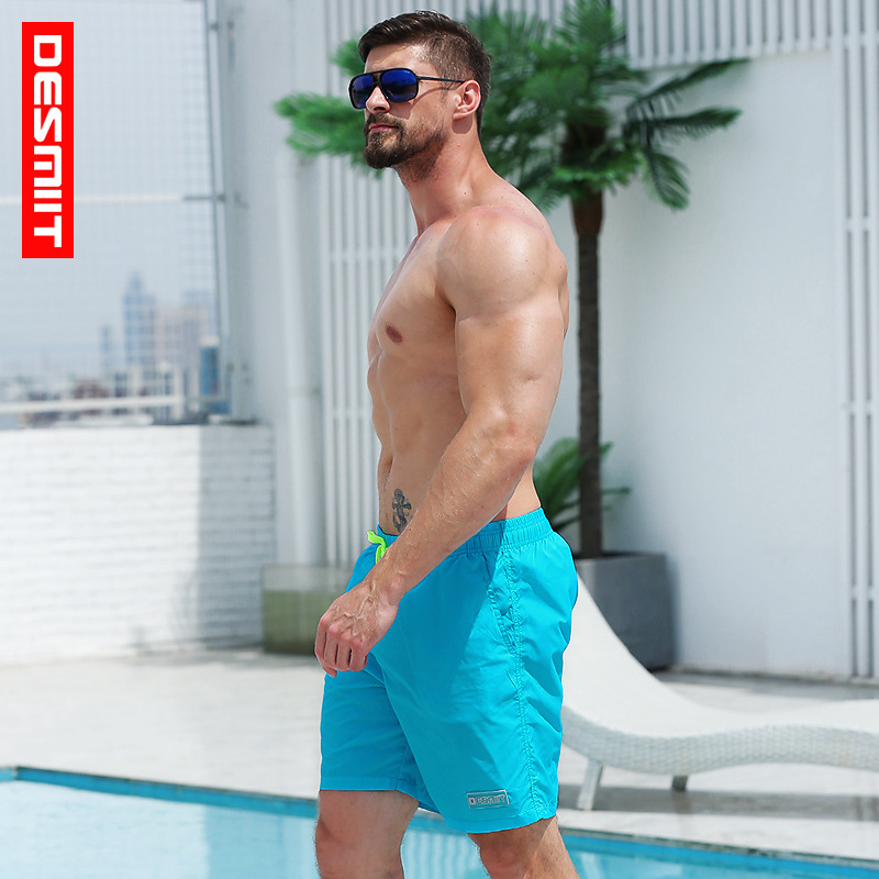 Solid board shorts men swimming trunks swimsuit hawaiian joggers printed quick dry surfing breathable homme mesh