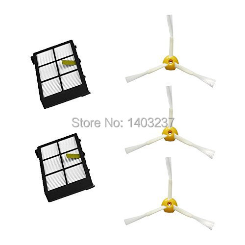 2 x HEPA Filter 3 x 3-armed Side Brush Replacement Pack Vacuum Cleaner For iRobot Roomba 800 Series 870 880 900 series (980) cheapest 1pcs cleaning mopping cloth 3 pair hepa filter 3 pair cleaner side brush for dt85 dt83 dm81 vacuum cleaner for house