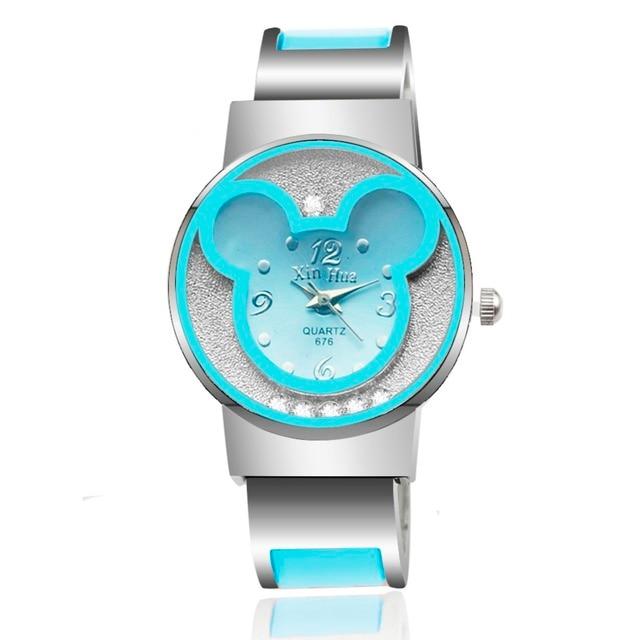 Luxury Crystal 2018 Women Dress Watch Women's Cute Mickey Bracelet Watches Ladie