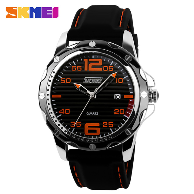 SKMEI 0992 Silicone Automatic waterproof watch Men Fashion Quartz Watch top quality mens famous clock luxury wristwatch vintage