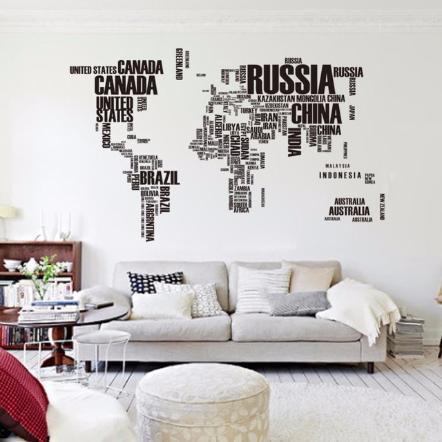 Black World Map Country Name DIY Wall Sticker Home Decor Custom Art Wall  Stickers For Bedroom Part 52