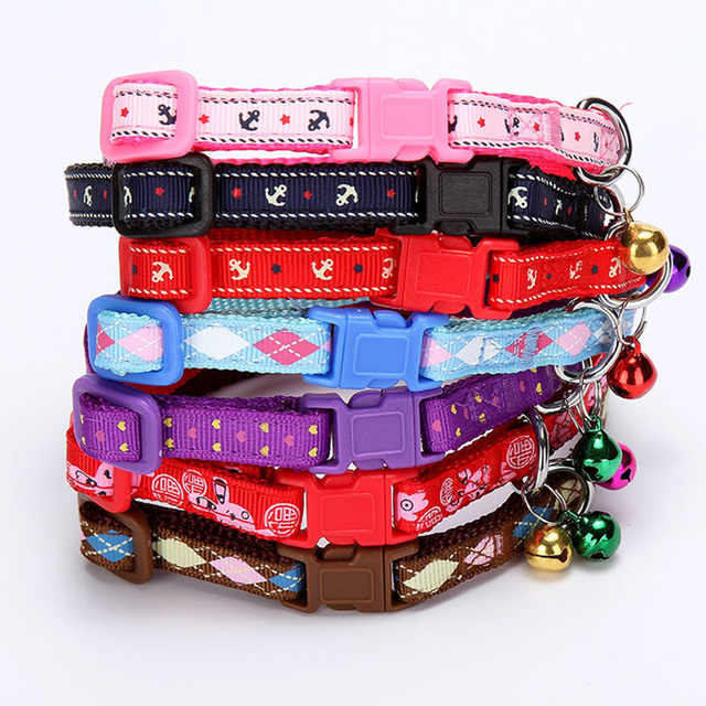 TANPOPO Cute Nylon Dog Collars for Small Dogs Puppy Kitten Kitty Cat Collar with a  Bell Pink Blue Red Purple Black