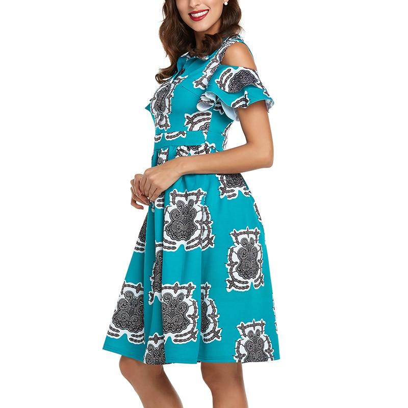 Винтажное летнее платье для женщин с принтом и открытыми плечами, оборками, пуговицы, миди платья, повседневное женское вечернее платье 2xl, н...