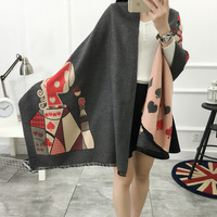 Europe And The United States Big Cards Old K Satin Jacquard Double Sided Scarf Shawl Thick