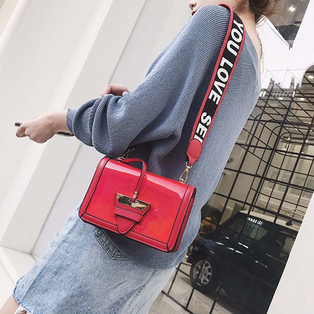 Women Luxury Triangle Lock Purses Bling Messenger Bag Wide Straps Crossbody Bag For Ladies Evening Bags Party Shoulder Bag 988