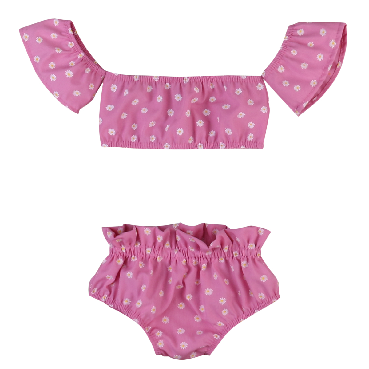 Helen115 Lovely Kids Baby Girls Summer Pink Floral Printed A Word Shoulder T-shirt+Shorts 0-4Years 05 lovely pink
